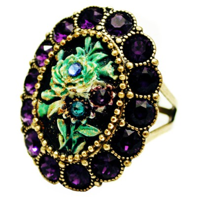 Michal Negrin Purple & Green Rose Relief Ring