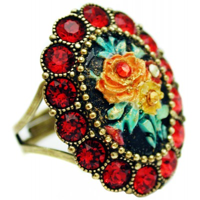 Michal Negrin Red Rose Relief Ring