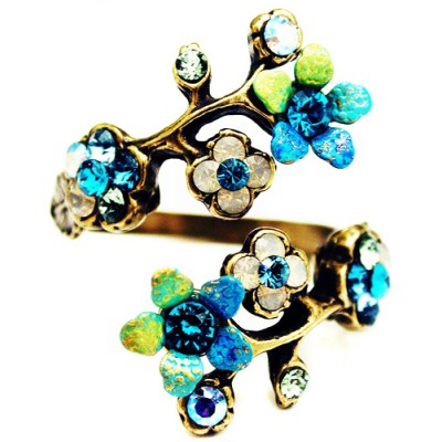 Michal Negrin Turqouise Tiedye Cherry Blossom Wrap Ring