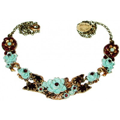 Michal Negrin Mint Green Red New York Roses Necklace