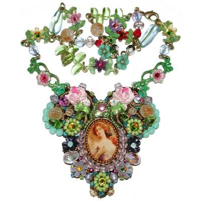 Michal Negrin Multicolor Lace Cameo Necklace