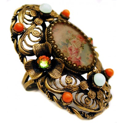 Michal Negrin Floral Cameo Ring