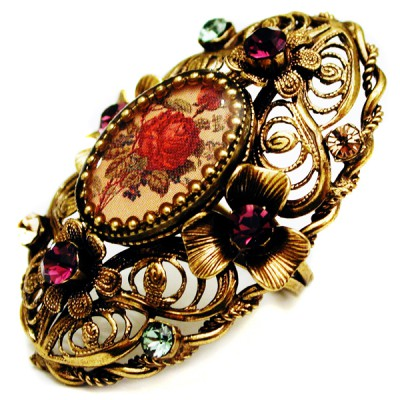 Michal Negrin Red Rose Cameo Ring