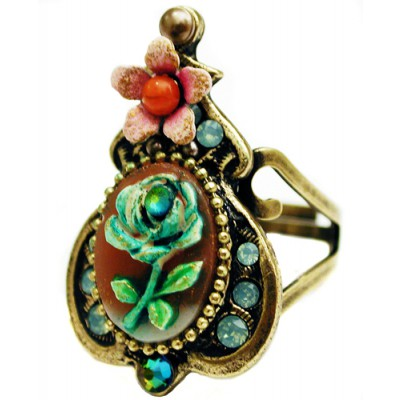 Michal Negrin Vintage Rose Relief Ring