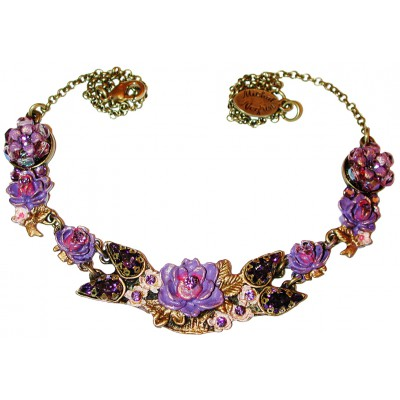 Michal Negrin Purple New York Roses Necklace