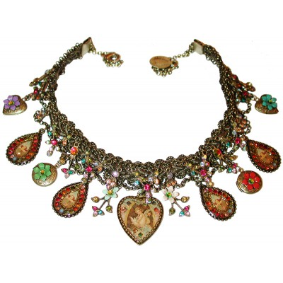 Michal Negrin Multicolor Angel Hearts Lockets Necklace