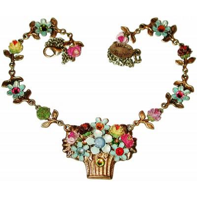 Michal Negrin Multicolor Flower Basket Necklace