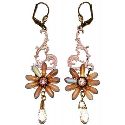 Michal Negrin Peach Flower Earrings