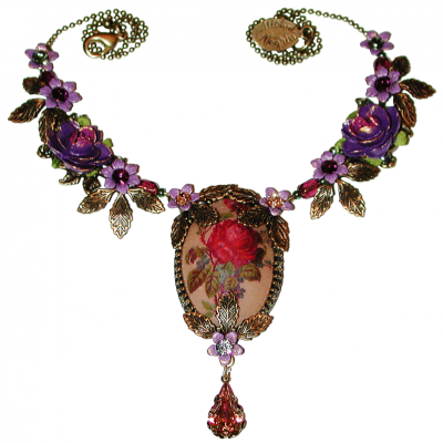 Michal Negrin Purple Red Rose Cameo Necklace