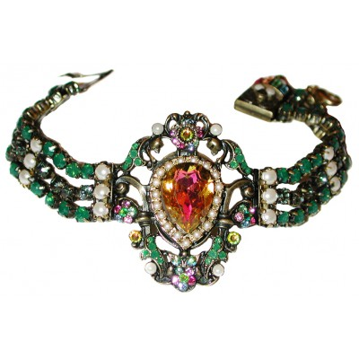 Michal Negrin Antique Green Pearl Bracelet