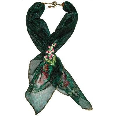 Michal Negrin Victorian Roses Scarf Necklace with Floral Brooch