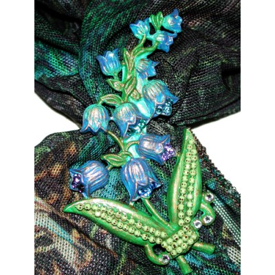 Michal Negrin Blue Roses Scarf Necklace with Floral Brooch