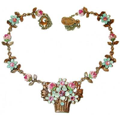 Michal Negrin Vintage Flowers Basket Necklace