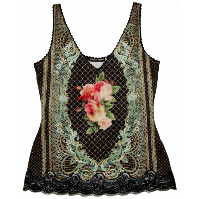 Michal Negrin Baroque Roses Lace Cami