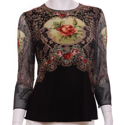 Michal Negrin Black Victorian Roses Long Sleeves Shirt