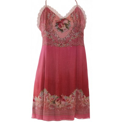 Michal Negrin Victorian Pink Roses Lace Crystals Dress