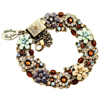 Michal Negrin Bronze Aqua Cream Crystals Flowers Beads Bracelet