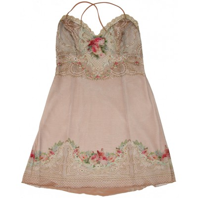 Michal Negrin Blush Victorian Roses Lace Crystals Dress