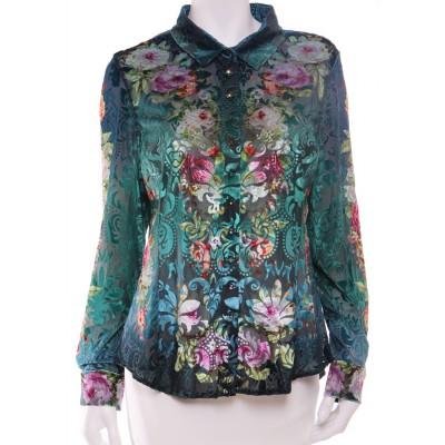 Michal Negrin Button Down Velvet Roses Shirt