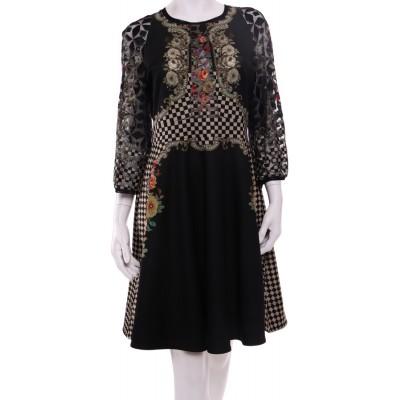 Michal Negrin Victorian Roses Black Dress