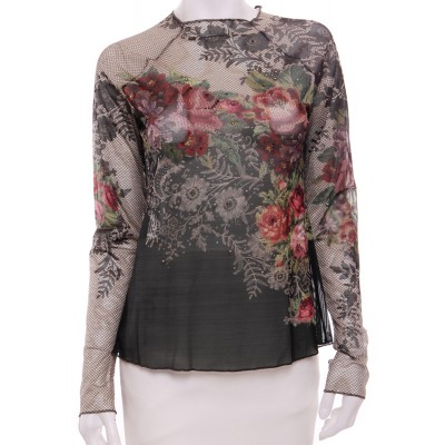 Michal Negrin Victorian Roses Tulle Long Sleeves Shirt