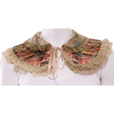 Michal Negrin Vintage Pattern Satin Lace Collar