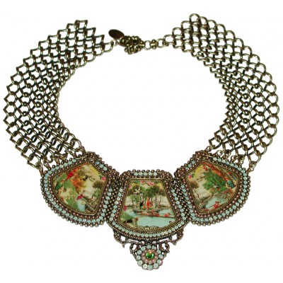Michal Negrin Cameo Panels Necklace