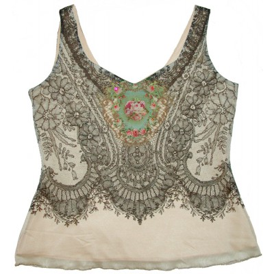 Michal Negrin Cream Roses Tank Cami Top