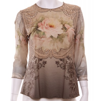 Michal Negrin Dusty Cream Rose Long Sleeves Shirt