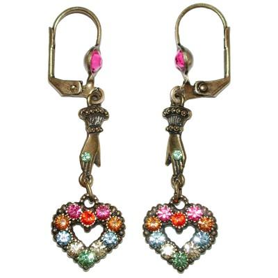 Michal Negrin Multicolor Victorian Heart Hand Earrings