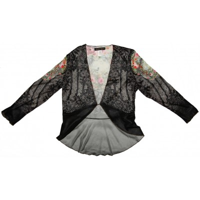 Michal Negrin Black Victorian Cardigan Wrap Top