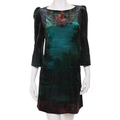 Michal Negrin Velvet Victorian Print Dress