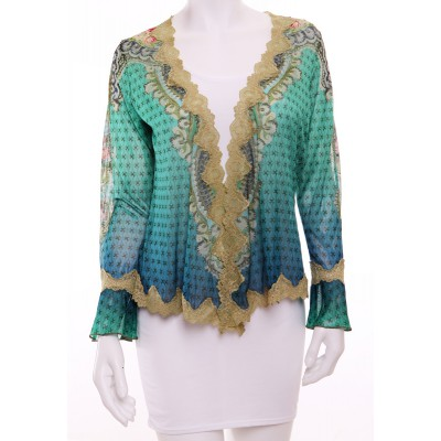 Michal Negrin Turquoise Blue Cardigan Wrap Top