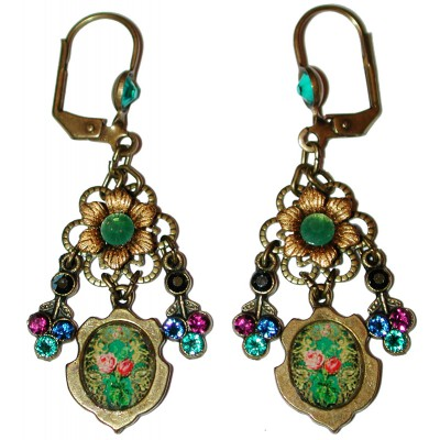 Michal Negrin Antique Roses Cameo Jewel Tones Earrings