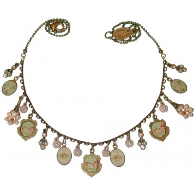 Michal Negrin Pearl Peach Victorian Roses Cameos Necklace