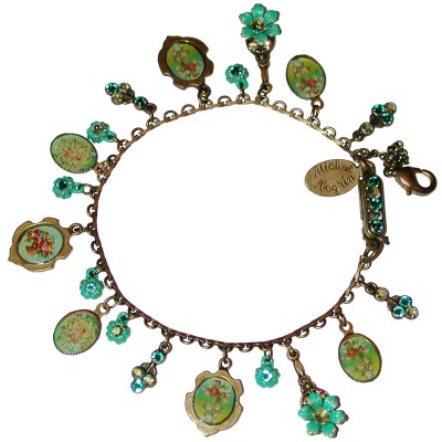 Michal Negrin Green Turquoise Roses Cameos Crystals Bracelet