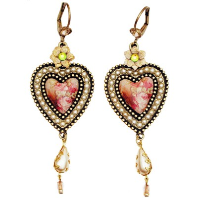Michal Negrin Pearl Rose Cameo Crystals Heart Earrings