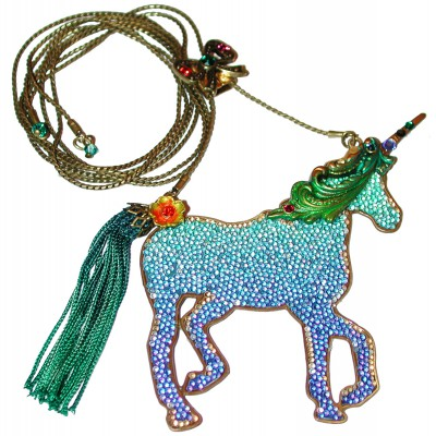 Michal Negrin Blue Green Unicorn Necklace