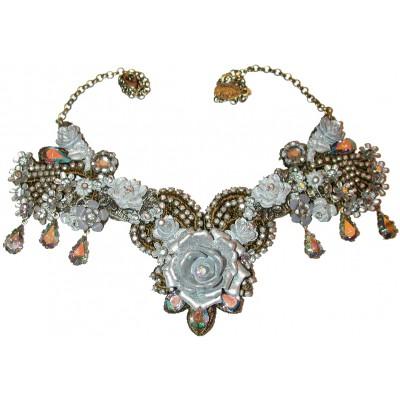 Michal Negrin Silver Tone Rose Garden Necklace
