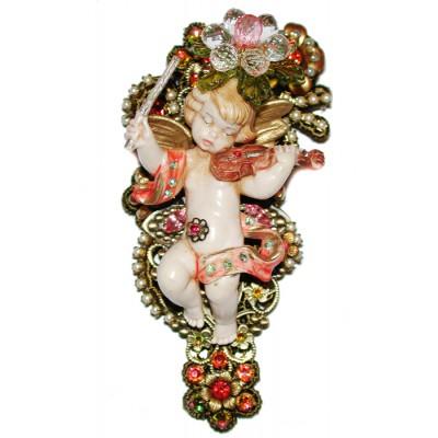 Michal Negrin Antique Cherub Figurine Brooch