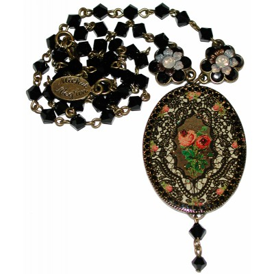 Michal Negrin Black Spanish Roses Cameo Necklace