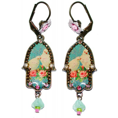 Michal Negrin Peace Doves Hamsa Earrings