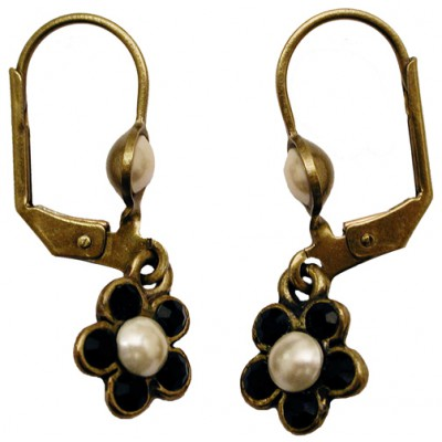 Michal Negrin Small Black Pearl Flower Earrings