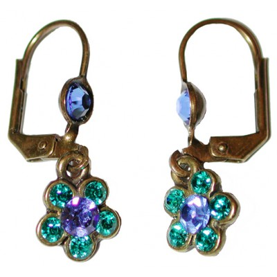 Michal Negrin Small Blue Turquoise Crystal Flower Earrings