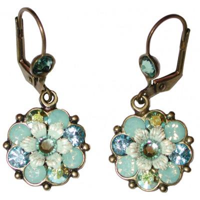 Michal Negrin Sea Green Aqua Crystal Flower Earrings
