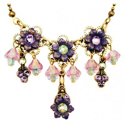 Michal Negrin Purple Green Lily Bells Necklace