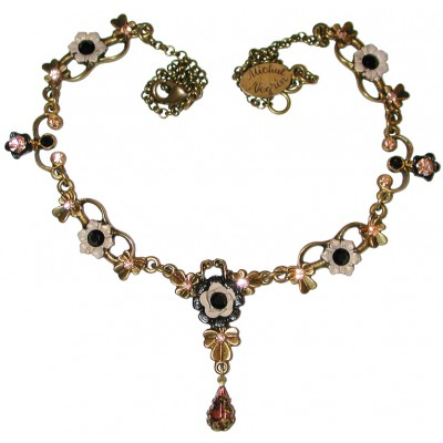 Michal Negrin Black Peach Ornate Necklace