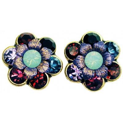Michal Negrin Blue Purple Garnet Crystal Flower Stud Earrings