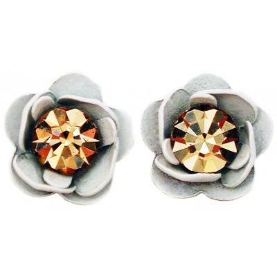 Michal Negrin White Gold Rose Stud Earrings