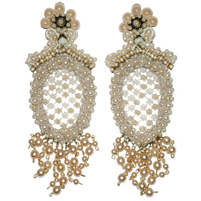 Michal Negrin Baroque Pearls Clip Earrings